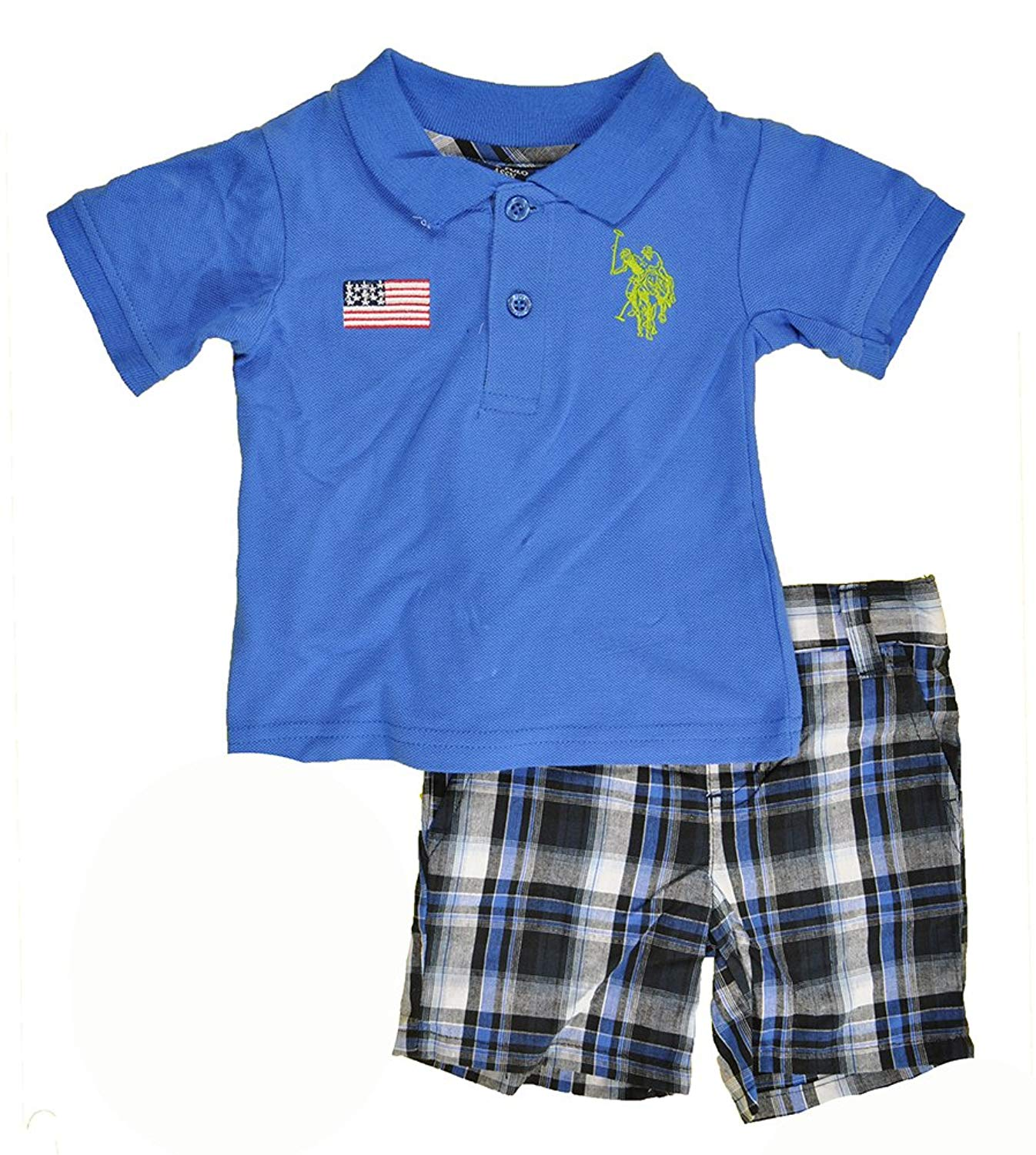 d2d2654a Get Quotations · US Polo Assn Toddler Boys S/S Blue Polo 2pc Plaid Short Set