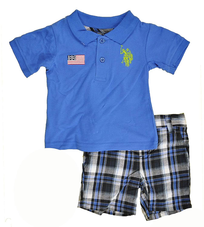 805c8ab9 Get Quotations · US Polo Assn Toddler Boys S/S Blue Polo 2pc Plaid Short Set