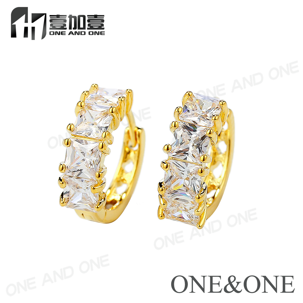 New Design 18K Gold Plated Square 4*4mm Micro Pave Small Hoop Earrings