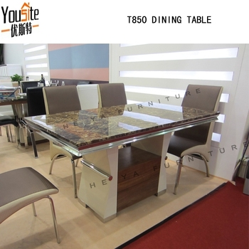 Malaysia Stainless Steell Design Marble Top Wooden Dining Table
