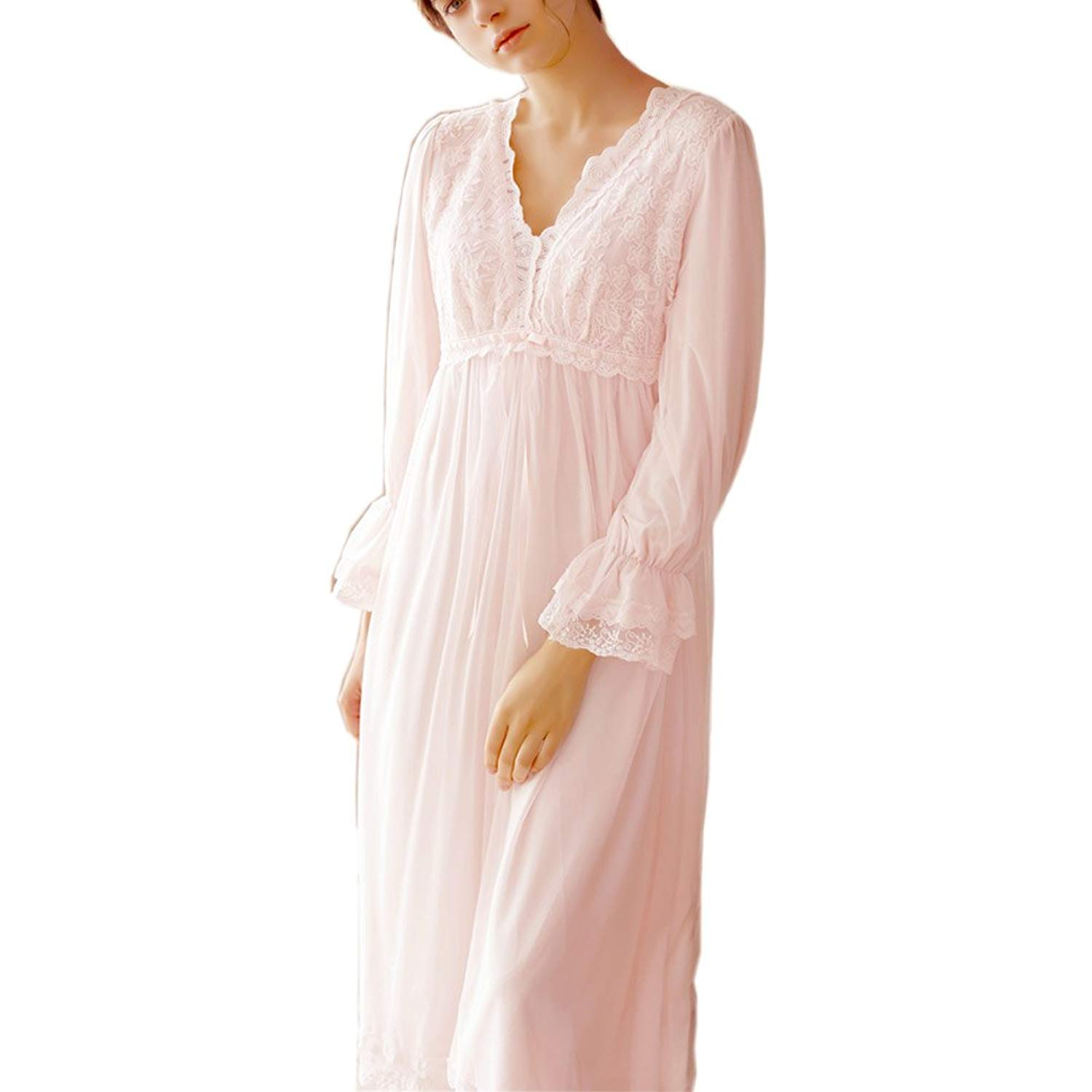 cba5c19649 Get Quotations · Singingqueen Women s Nightgowns Victorian Vintage  Nightdress Long Sheer Pajamas Sleepwear Lounger
