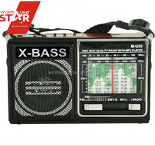 AM/FM/SW Portable Radio with SD/USB slot and light packed with rechargeable battery charging line and shoulder strap