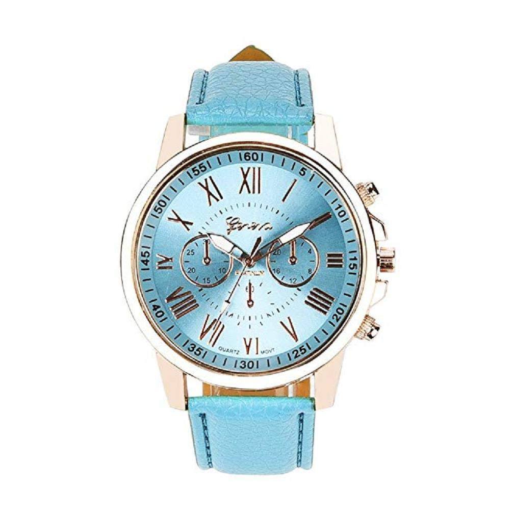 Windoson Womens Quartz Watches Ladies Geneva Roman Numerals Round Faux Leather Band Quartz Wrist Watch Teens Fashion Alloy Analog Watches, Women Watches Clearance (A)