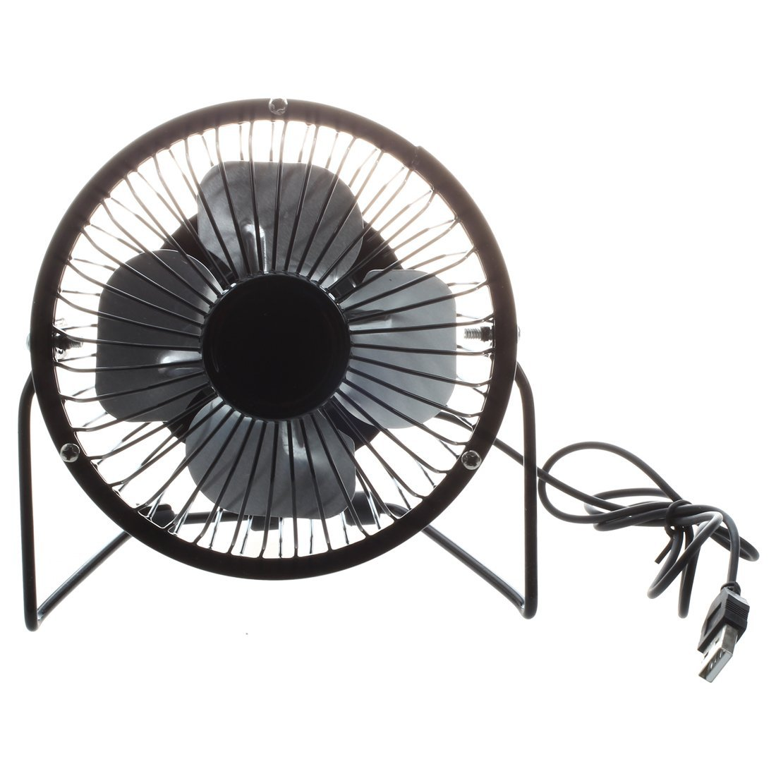 SODIAL(R) 4-inch 360-degree Rotating USB Powered Metal Electric Mini Desk Fan for PC /Laptop /Notebook (Black)
