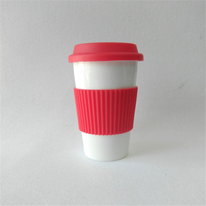 Double wall travel mug with coating for sublimation, coffee mugs white rubber lid to keep warm