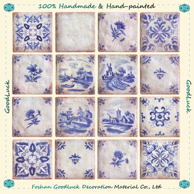 Blue And White Pattern Wall Tile Church Backdrop Islamic Decoration