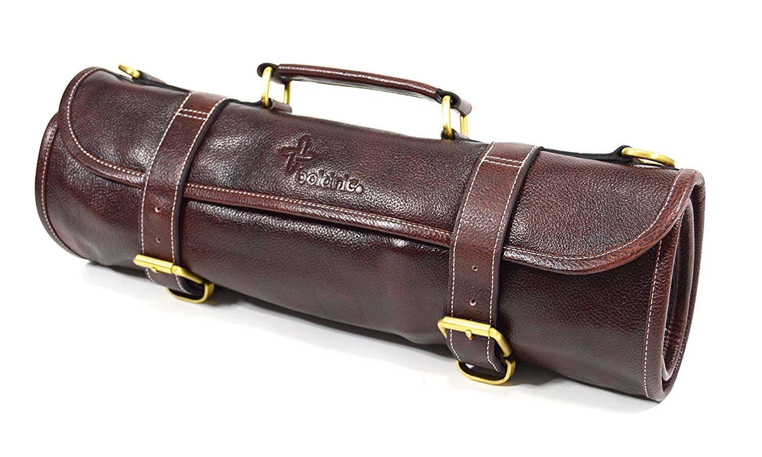 9748ed7334 Get Quotations · Boldric 9 Pocket Leather Chef Knife Roll Bag With Shoulder  Strap – Professional Water Buffalo Hide
