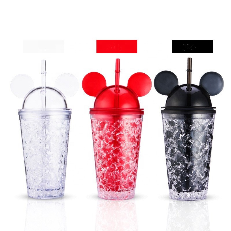 Cute mickey mouse cartoon double wall plastic reusable ice cold drink cups