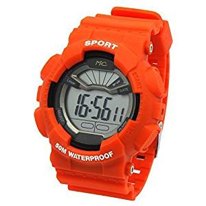 Mens Orange Sport Shock Resistant LED Digital Wrist Watch with Alarm Water Proof Watches