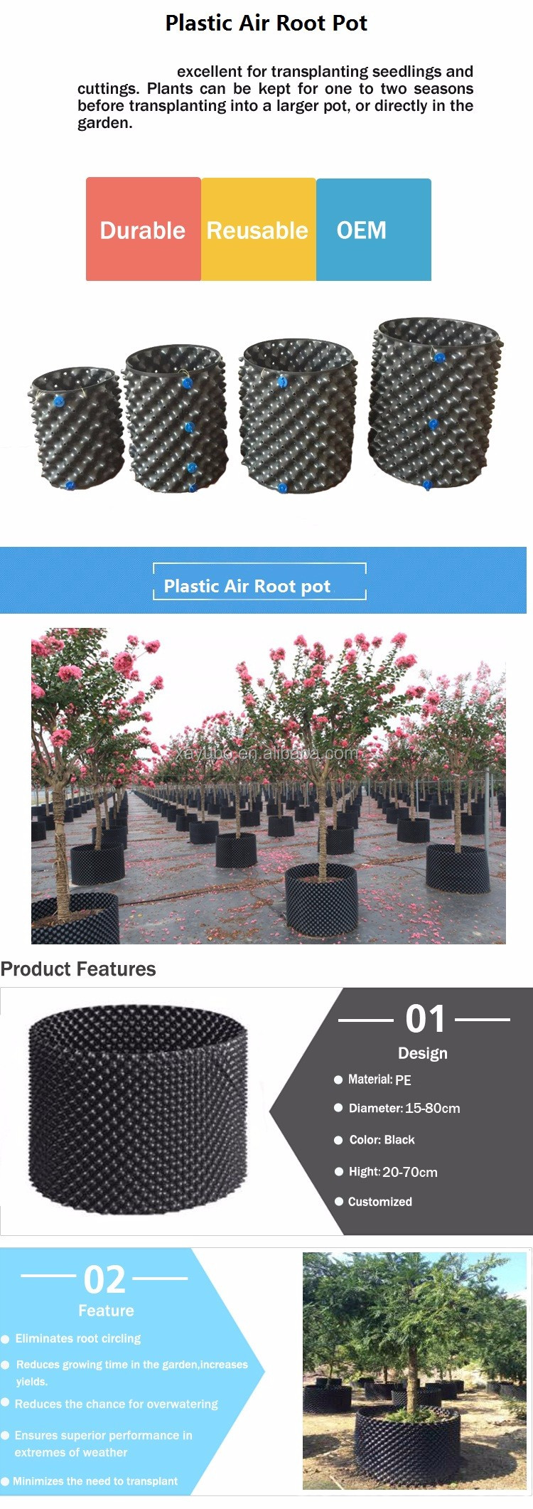 China Factory High Quality Black Plastic Air Purning Pot For Trees