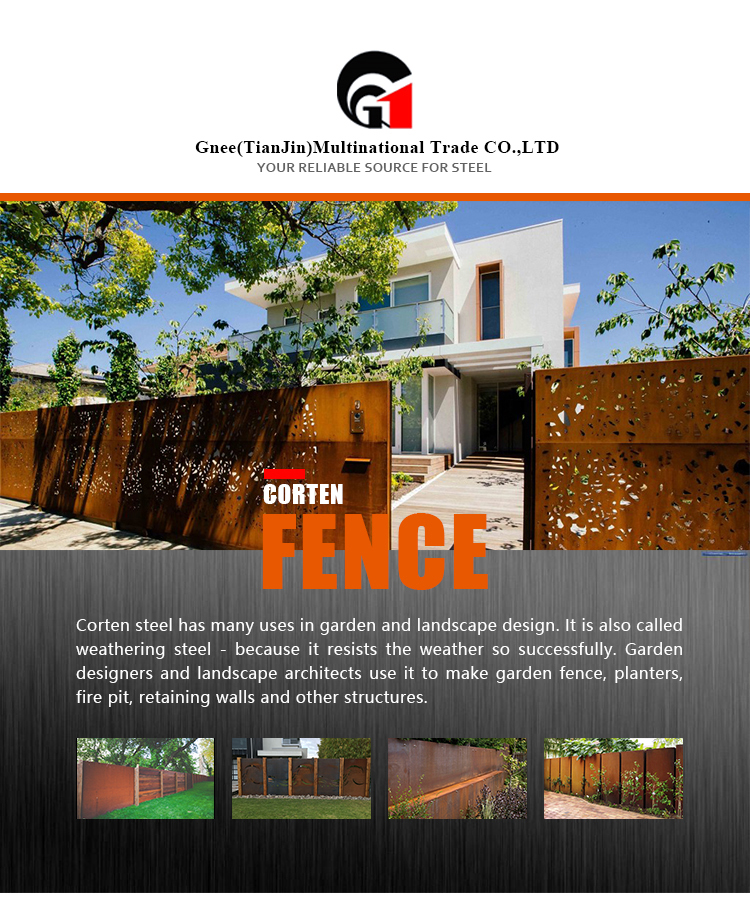 Corten Steel Fence Rusty  for Outdoor Garden