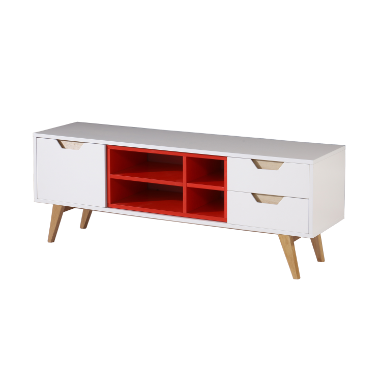 Scandinavian furniture wooden modern cheap tv cabinet with showcase
