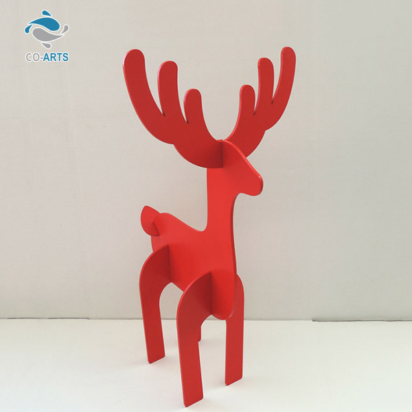 Lovely design home decoration red animal wood carving crafts