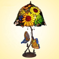Stained Glass Antique Tiffany Table Lamp with Sunflower