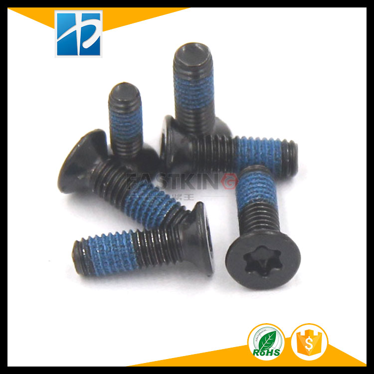 304 stainless steel GB2673 electrophoresis  flat head plum groove plating blue rubber screw