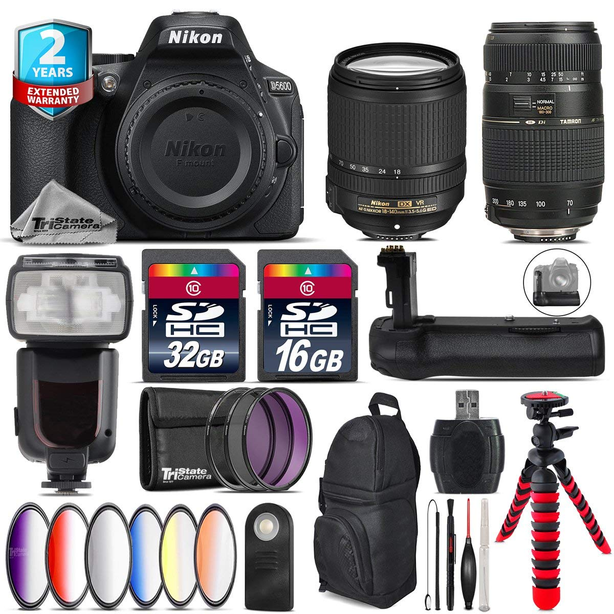 Holiday Saving Bundle for D5600 DSLR Camera + Tamron 70-300mm Di LD Lens + 18-140mm VR Lens + Flash with LCD Display + Battery Grip + 6PC Graduated Color Filter - International Version