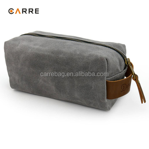 man waterproof waxed canvas travel toiletry bag with leather trim
