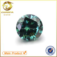 China wholesale round brilliant cut 1ct weight 6.5mm green colored moissanite