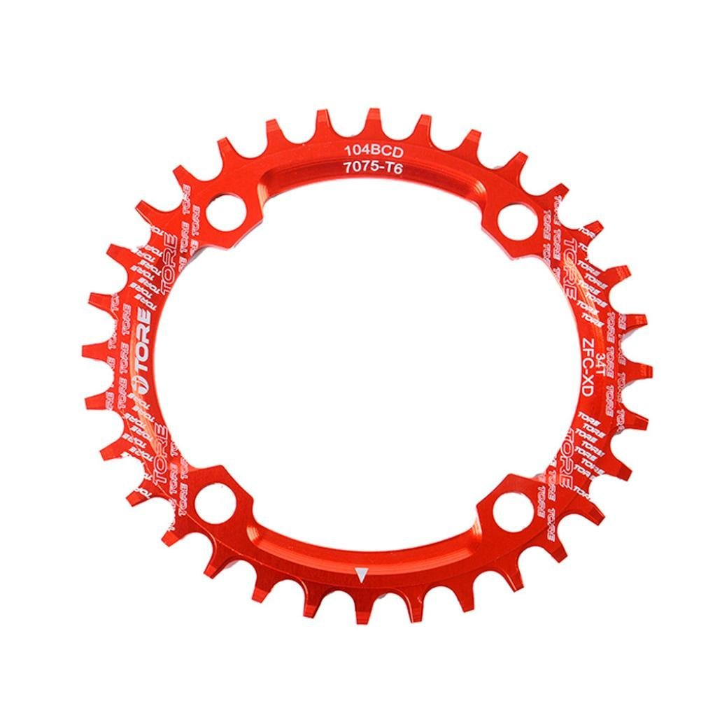 Binmer(TM) 104BCD 34T Ultralight Alloy Bike Bicycle Chainring Oval Round Chainwheel (red)