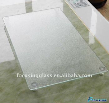 Superbe With High Plastic Feet 52x30cm Large Tempered Glass Cutting Board