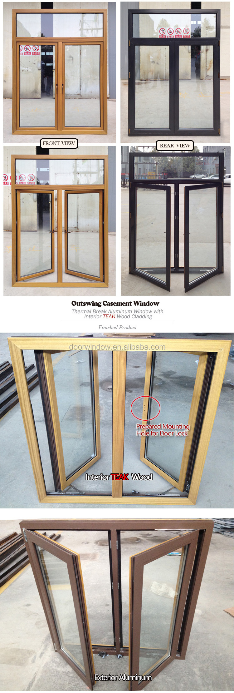Teak wood main window designs French style open out windows