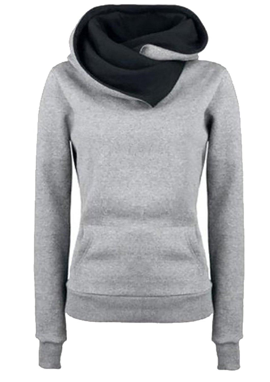 Generic Women Solid Funnel Neck Hoodies Pullover Hooded Sweatshirt