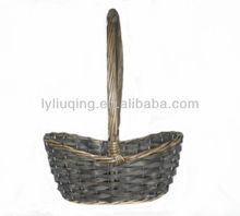 wholesale round grey/colorful wicker willow woodchip basket with handle plastic lining