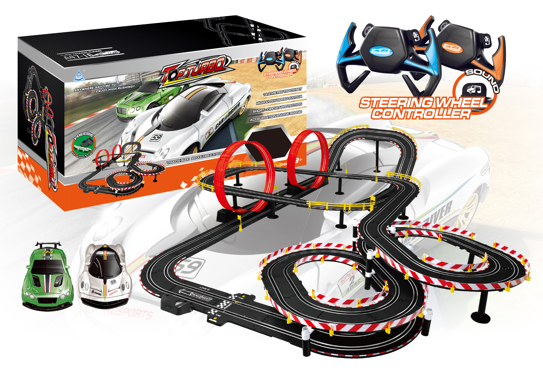 A47 16 Soba Toys Factory Track Total 1400cm Race Car Wih Set Speed Wire Wiring Christmas Plastic