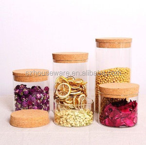 Heat resistant borosilicate glass storage jar with cork lid