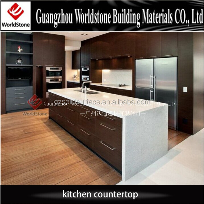 kitchen furniture white artificial marble island counter top