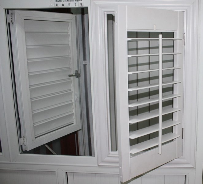 American Style Pvc Louver Shutter Window With Manual