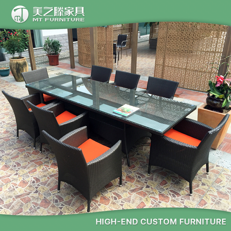 SGS Approved Leisure Ways Home Garden 6 Seater Dining Table and Chair Sets Wicker Resin Cube Rattan Garden Furniture