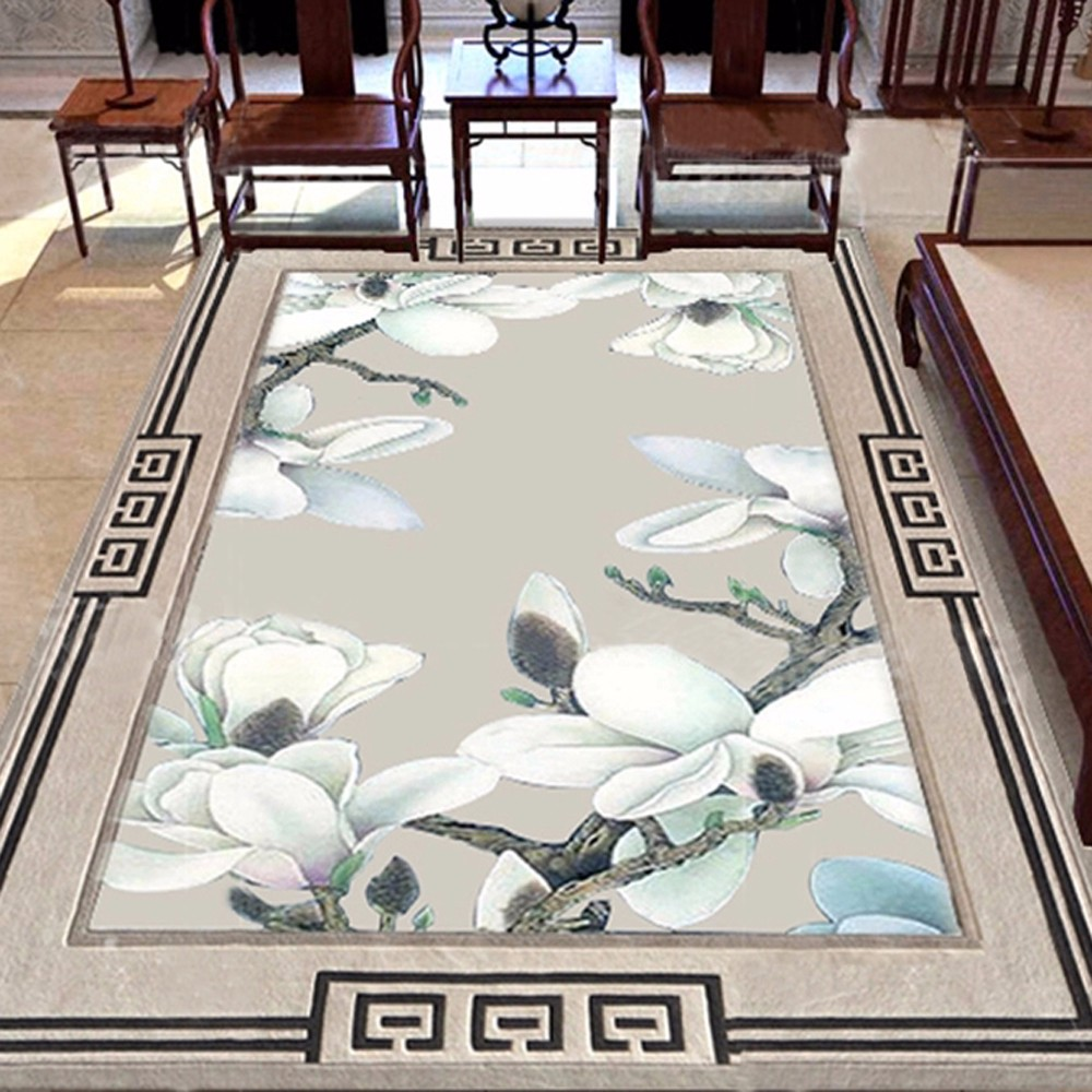 High Quality Wool Traditional Pattern Custom Chinese Flower Rug Hand Tufted Area For Living Room