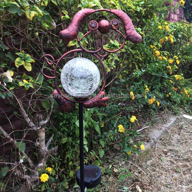 SCL0034 Color Changing Led Crackle Glass Ball Metal Dog Solar Lights  Outdoor Garden Decoration