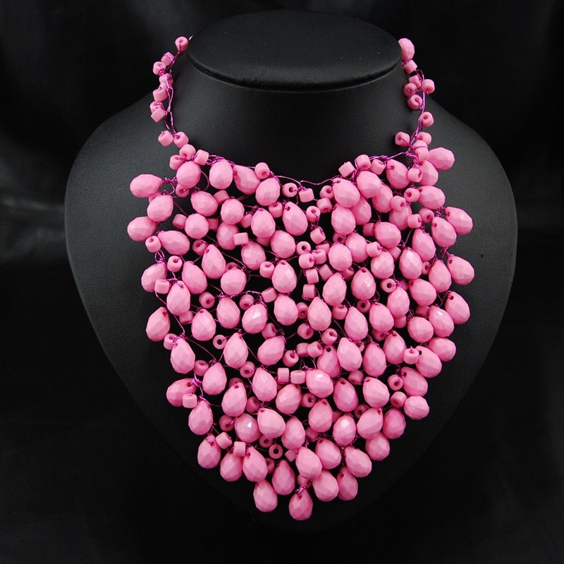 W7237 Multi Colors Option Jewelry Acrylic Beads Braided Statement Necklace