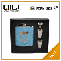 6oz stainless steel wine hip flask gift set