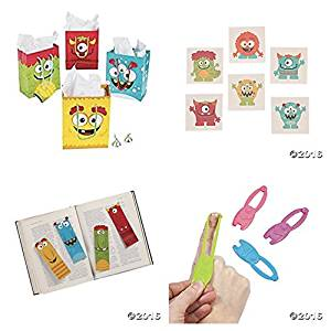 84 Silly Monster PARTY Favors - Bookmarks - TATTOOS - Mini GIFT Bags - Stretchy Flyers - BIRTHDAY Parties