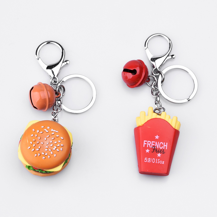 Eco-friendly Custom Shaped Metal Hamburger Fries Keychain With Bells