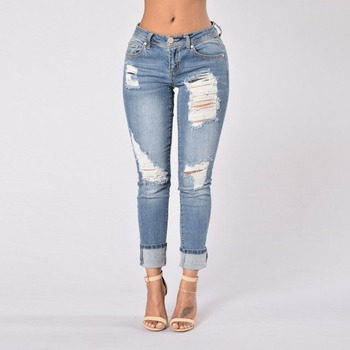 Agujeros Vaqueros Denim Algodón Pantalón Highwaist Corto Lápiz Rasgado Casual Jeans pantalones Mujer De Nuevo Hem Harén Slim WE2H9ID