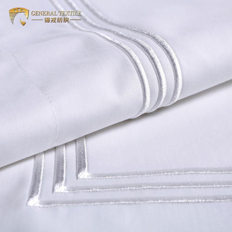 Wholesale Hotel Collection Solid Color cotton Home Textile Embroidery Bedding Set