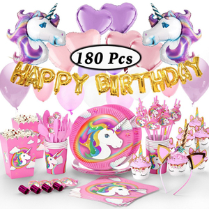 High Quality Wholesale Birthday Party Decoration Set Unicorn Balloon Kids'  Party Favor Tableware Unicorn Party Supplies