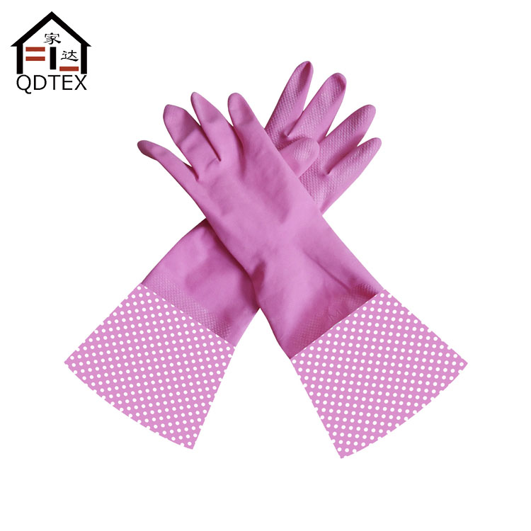 Long cuff household latex rubber glove/kitchen cleaning glove