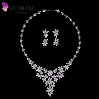 White Gold Plated Marquise Shape CZ Diamond Large Flower Wedding Necklaces and Earrings Sets For Bridal Costume Jewelry