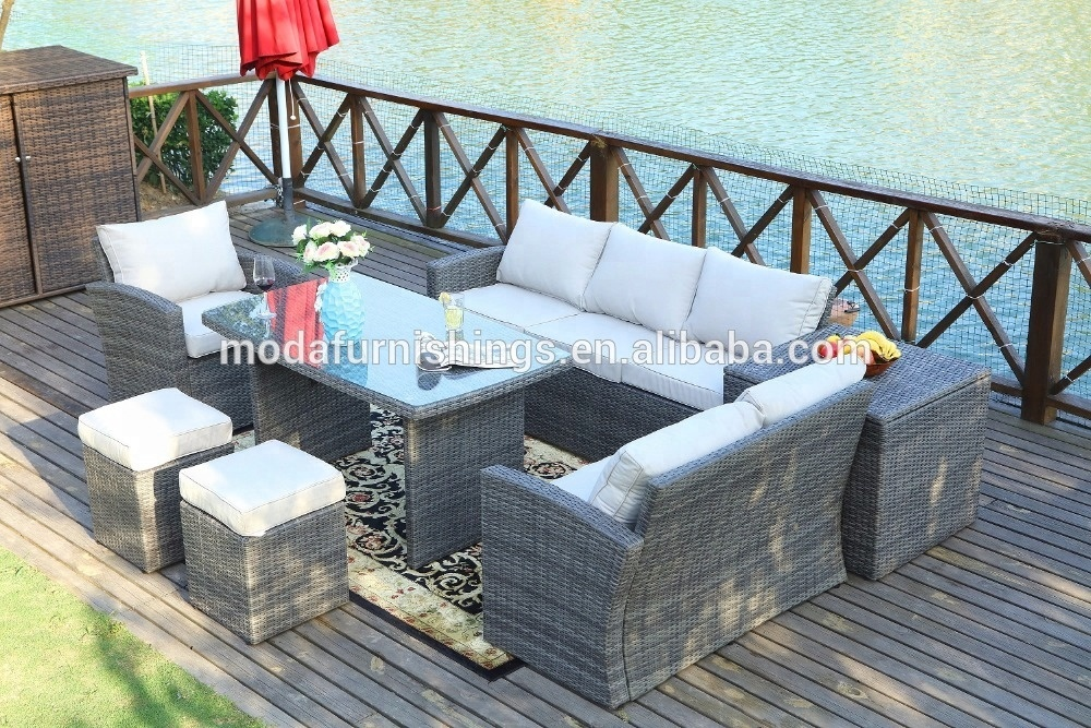 8 Seater Detachable Europe Style Outdoor Furniture Wicker Rattan and Garden Patio Sofa Set