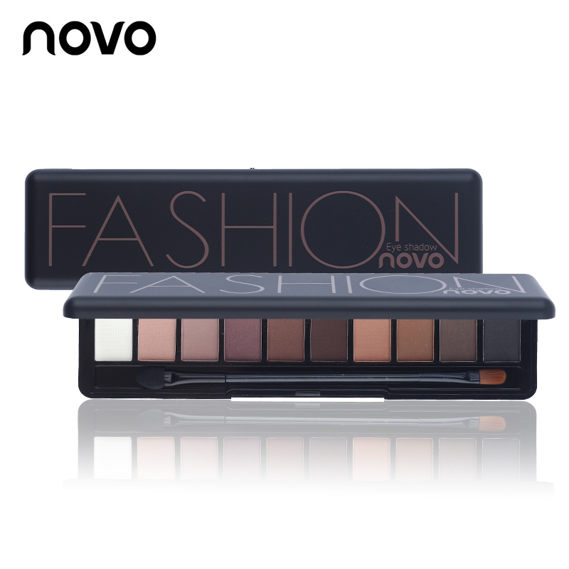 NOVO Brand Fashion 8 Colors Shimmer Matte <strong>Eye</strong> Shadow Makeup Palette Light Eyeshadow Natural Make Up Cosmetics Set With Brush