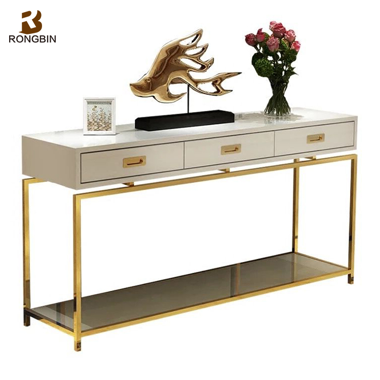 Luxury Postmodern Stainless Steel Titanium Gold Furniture 3 Drawers Chinese  Hotel Hallway White Console Table With