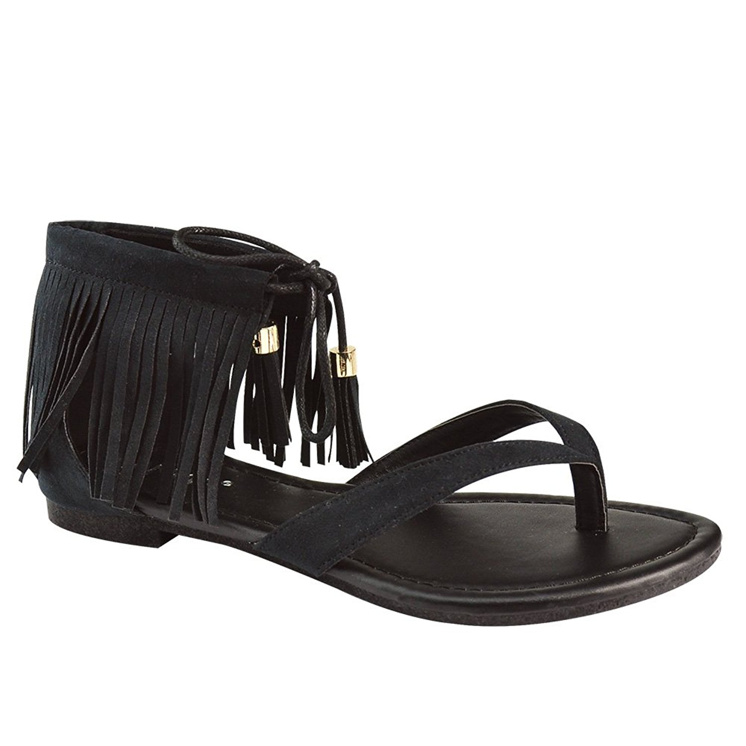 Anna Home Collection Anna Ruffle-7 Women's Fringe Lace up Thong Flat Dress Sandals,Color Black, Size:7.5