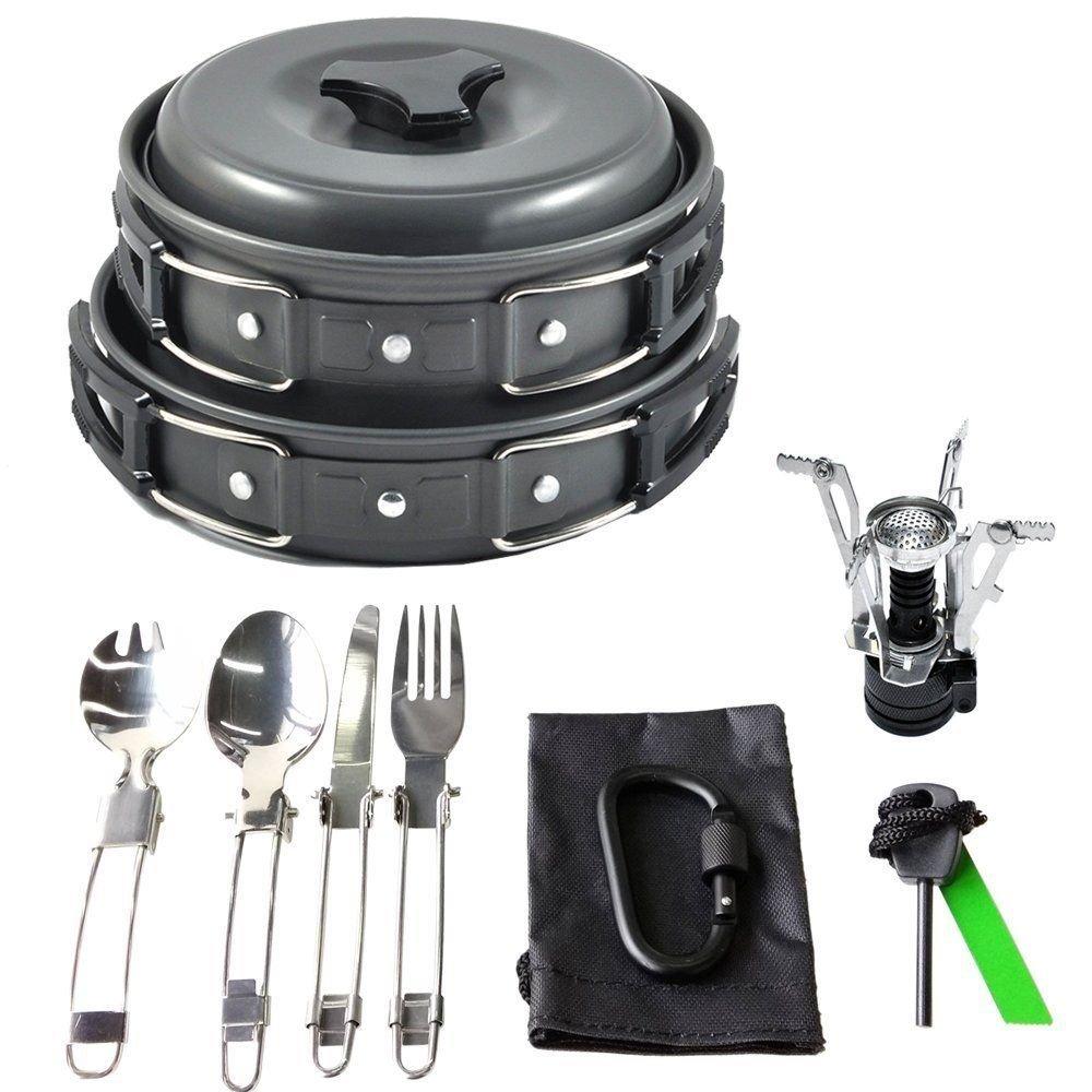 Generic okware Cooking Equipment ng Cookwar Kit Outdoor Camping Co Camping Cookware Mess Cooking Equ Set Black et Black Gear Cook Cook Set Black