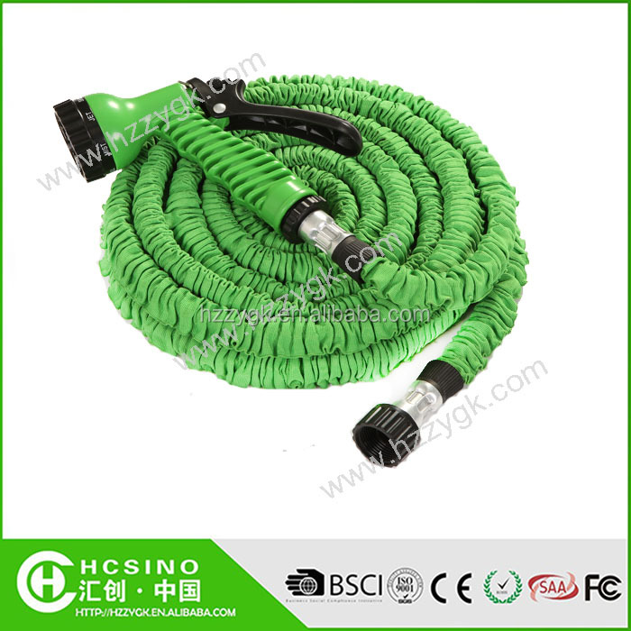 3/4'' faucet high elastic expandable garden water hose / non kink tube with high pressure spray nozzle