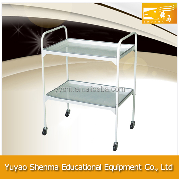 Labratory equipment medical metal small cart multi-purpose 2 tiers laboratory trolley